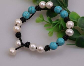 "Handknotted Freshwater Pearl Bracelet,Turquoise Bracelet,Natural Stone Jewelry,Blue Beads Bangle,Handmade Women Bracelet,8"" Wrist Band,B0022"