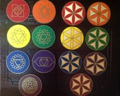 Chakra Themed Flower of Life Mini Crystal Grid Set