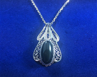 High Quality Handmade Sterling Silver Necklace Filigree Onyx Stone made in Macedonia