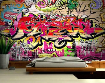 GRAFFITI 3d MURAL, street graffiti, graffiti mural, self-adhesive vinly, graffiti wall decal, graffiti wall mural, graffiti wallpaper,