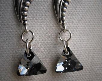 Swarovski Triangle Sterling Silver Post Earrings
