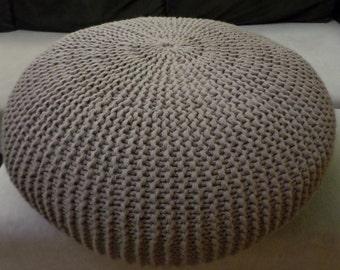 Beige Gestrickte Hocker Aus 100 Wolle Handgemachte Fuss Wohnzimmer