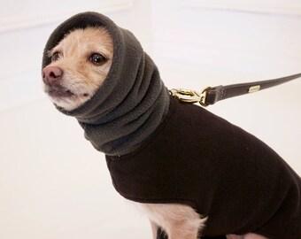 Custom Dog Fleece Coat- Black Dog Hoodie/Scarf- Dog Jacket- Dog clothes