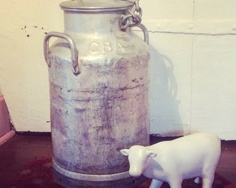 Rare! Great vintage aluminum milk. French country decor.