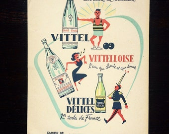 Advertising textbook of the famous brand of Vittel bottled sparkling water. Superb graphics. 50s/60s.
