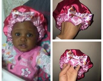 Baby/Toddler reversible 100% satin bonnets