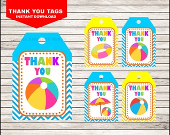 50 Off Sale Pool Party Thank you tags instant download, Swimming Pool Tags, Summer Party Thank you tags