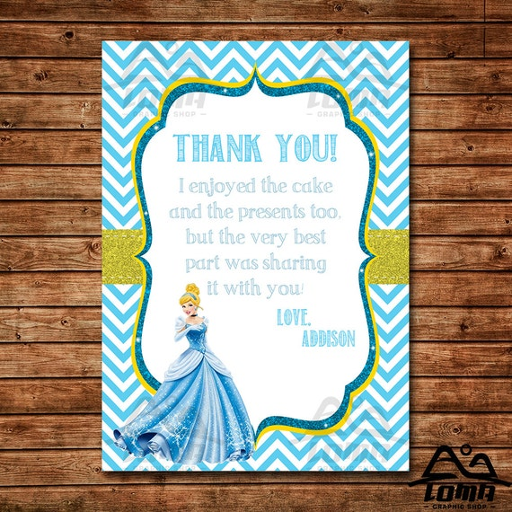 Cinderella Birthday Thank You, Cinderella Birthday, Disney Princess Thank You, Princess Birthday Thank You, Cinderella, Prince Charming
