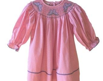Winter Sale! Long Sleeve Bishop Dress with Ice Skates Smocking - Winter Smocked Dress