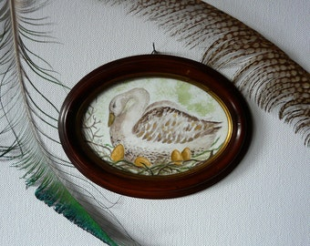 Original Watercolour Painting in an antique frame: Goose that lays Golden Eggs, Fairytale, Shabby Chic