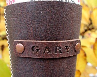 Handmade leather coffee sleeve personalized