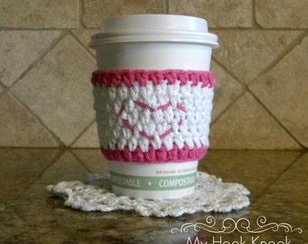 Handmade crochet heart stitched coffee tea sleeve/cup warmer/cozy