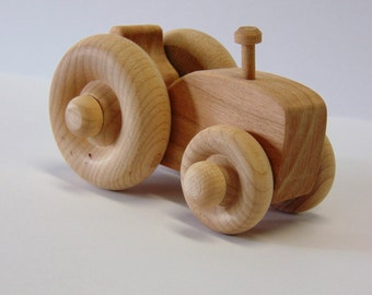 Natural Wood Toy Tractor