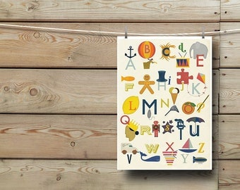 Illustrated Alphabet Giclee Print