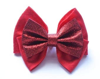 Ruby Red Oversized Bow Clip