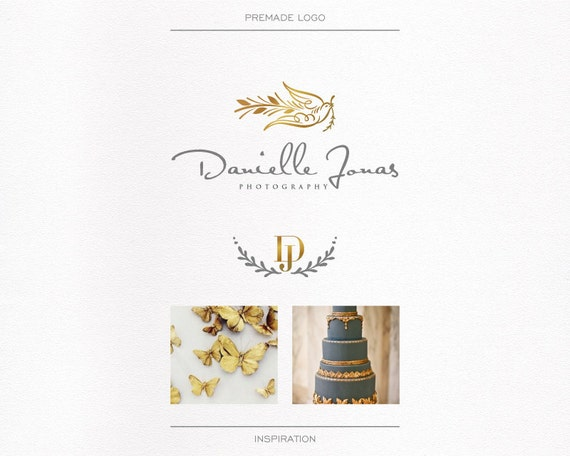 Wedding Photography Logo with Gold foil, Bird Logo, Watermark Logo, Business logo, Script Logo, Signature,Wreath,  Initials , Blog