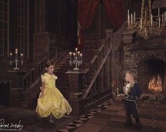 Beauty & the Beast Digital Backdrop - Disney Inspired background - Princess Belle - Ballroom - Castle - Digital Photo - Prop - Photographer