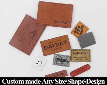 200 Custom Leather Tags, Custom Personalized Leather Tags, Faux Leather Tags, Leather Tags, Leather Label Tag, Custom Leather Tag.