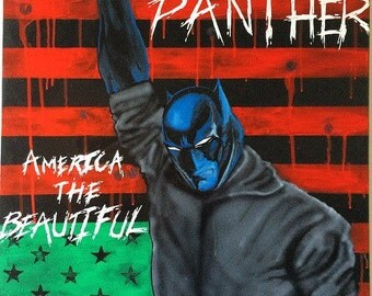 "America The Beautiful original acrylic on canvas black panther ""us"" flag by vab the artist"