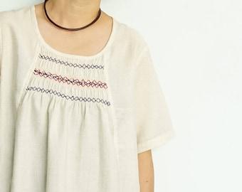 Hand-Smocked Linen Top/Tunic Top/Linen Top