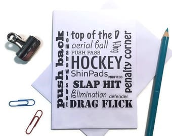 Birthday card - note card for hockey fan