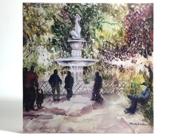 Watercolor art print mounted on wood panel — ready to hang — Fountain in the Park
