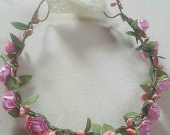 Pink flower crown with leaf garland and Cream Lace. Available in sizes 0-3months to adult. Mommy and Me option also!