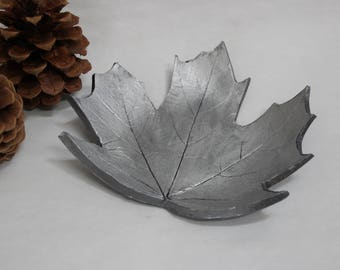 Decorative Maple Leaf Dish - Real Maple Leaf Clay Decorative Trinket Dish