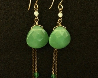 Green earrings with with semi precious light green glass beads, crystal and 14K gold filled chains & earwire
