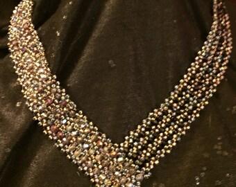 V~Shape Champagne  & Black Crystal Necklace