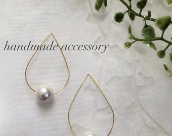 Cotton Pearl × Hoop Earrings  PHCpG 013