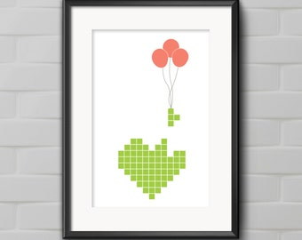 Tetris print - I love Tetris art - Geeky Nursery Art - Nerdy Nursery Printable - I Love Video Games print - Digital download printable