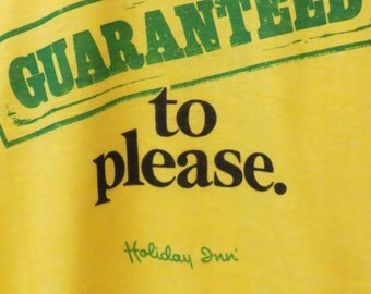 GUARANTEED to please Holiday Inn Authentic Vintage TShirt  Yellow 50/50 USA XL Screen Stars