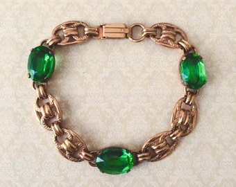 Vintage 1930's Gold Gilded Emerald Green Art Deco Bracelet