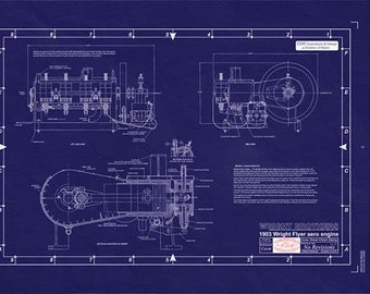 WRIGHT BROTHERS FLYER Engine (1903) Engineering Drawing/Blueprint -Large