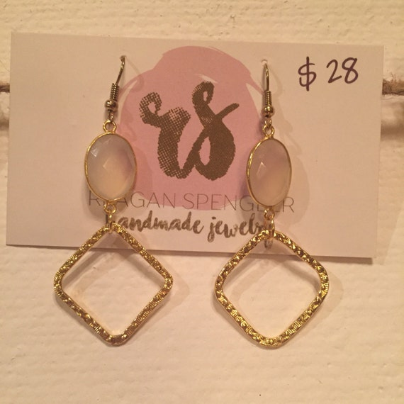 Moonstone oval pendants with hammered gold accent hoops