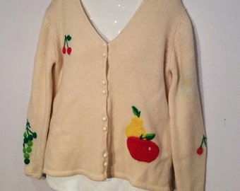 cardigan sweater with fruit detail vintage 1950's