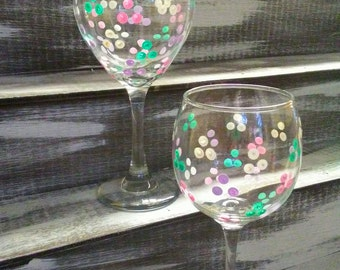 Set of 2 Hand Painted Pastel Polka Dot Wine Glasses