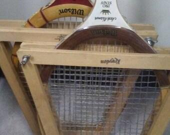 Pair of Wooden Tennis Rackets