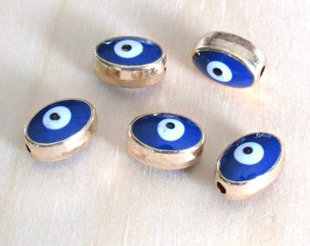 Evil eye beads, set of 5, gold evil eye, oval eye beads, blue eye beads, Jewelry findings, US seller, Jewelry supplies, bracelet charms