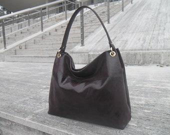 Women's Genuine Leather Handbag -mod.10 vinous