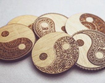 Yin Yang Wooden Coasters Set of 6