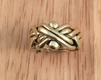 9ct gold puzzle ring, yellow gold puzzle ring, gents gold puzzle ring, large yellow gold gents ring