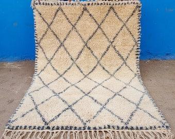 Beni Ourain handmade Moroccan 100% wool rug Grey 7,8 x 5,5 F