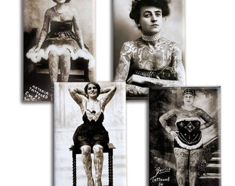 Tattoo Magnet Set | Sideshow Tattoo Lady | Gift for Tattoo Fan | Old School Tattoo | Black and White Photos | Tattoo Art