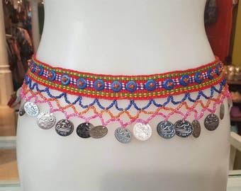 Tribal belt, ethnic, belt with coins, belt boho