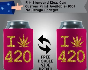 I Shrubbery 420 Four Twenty April 20th Collapsible Fabric Weed Can Cooler Double Side Print (Holidays420) Gold Shimmer Ink