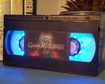 Retro VHS Game of Thrones  Night Light Table Lamp. Order any film, movie, series, or actor! Great personal gift. Man Cave, Office, Bedroom!