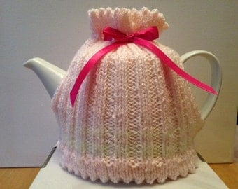 Bespoke Hand Knitted Pink and Cream Tea Cosy