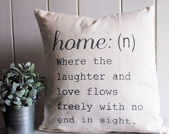 Home quote 18in. x 18 in. pillow case   , grey hand painted , farmhouse style , home decor , bedroom , living room